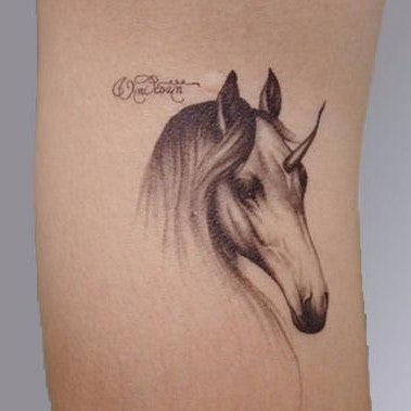 Unicorn Black and White Temporary Tattoo