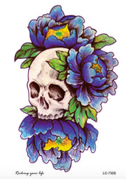 Skull Tattoo, Floral Temporary Tattoo, Flowers Punk Gothic Skulls Arm Sleeve Back Chest Blue Traditional Vintage Large Classic Navy