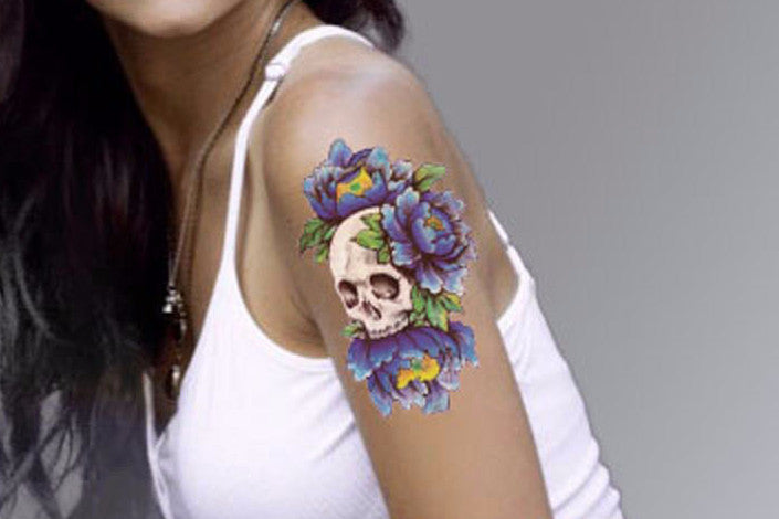 Skull Tattoo In Floral Blue, Skull Tattoo, Floral Temporary Tattoo, Flowers Punk Gothic Skulls Arm Sleeve Back Chest Blue Traditional Vintage -6771