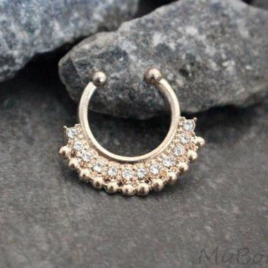 Rose Gold Fake Septum Ring with Clear Crystals