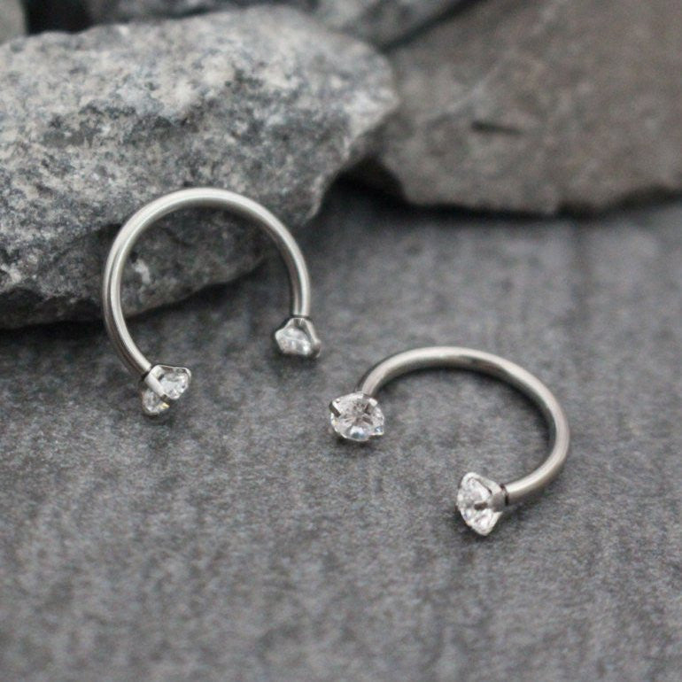 Swarovski Septum Ring Horseshoe Septum Jewelry 16g Rook