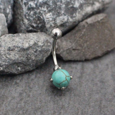 Turquoise Belly Button Ring Stud at MyBodiArt.com