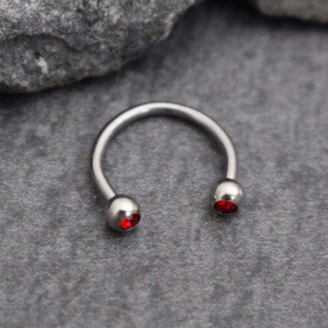 Red Crystal Septum Horseshoe, Septum Ring, Septum Jewelry, Tongue Ring, Tongue Piercing, Lip Ring, Eye Brow Ring, Eyebrow Piercing, Smiley Piercing, Daith, Rook, Tragus, Cartilage, Helix