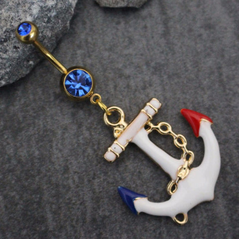 Chunky Anchor Belly Button Ring in Gold Barbell with Blue Crystals