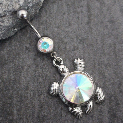 Opal Aurora Borealis Crystal Turtle 14G Belly Button Rings