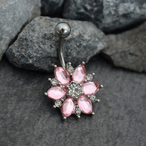 Precious Belly Button Ring Stud | Flower Navel Jewelry | Snowflake Belly Piercing | Lotus in Silver | w/ Extreme Shine Clear Pink Crystals