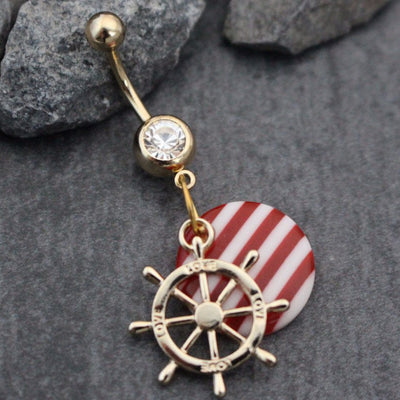 Nautical Sea Treasure Rudder Wheel Belly Button Ring in Rose Gold with Striped Red & White Peppermint Charm perfect for the Beach, Summer or Fourth of July, 4th of July