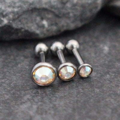 Aurora Borealis Crystal 16G Barbell Studs, Tragus Jewelry, Tragus Ring, Helix Earring, Helix Stud, Cartilage Piercing, Cartilage Ring, Forward Helix Earring, Triple Forward Helix
