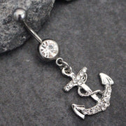 Anchor Navel Ring, Belly Button Rings Silver, Navel Piercing, Belly Button Jewelry, Anchor Curved Barbell Bar 316L Surgical Stainless Steel