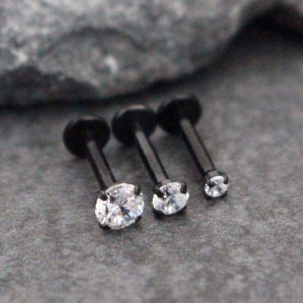 Swarovski Crystal Black Ear Piercing Jewelry Ideas for Cartilage, Helix, Conch Labret Stud - www.MyBodiArt.com