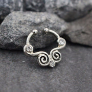 Silver Tribal Fake Septum Ring