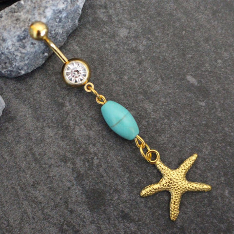 Starfish Belly Button Piercing in Gold