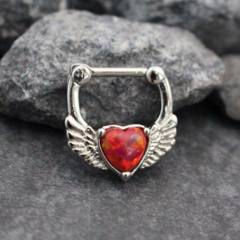 Aura Red Opal Heart Septum Clicker