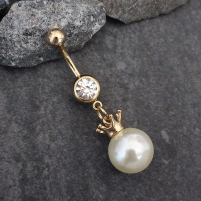 Pearl Belly Button Ring, Pearl Belly Ring, Crown Navel Piercing, Princess Belly Button Jewelry, Gold Navel Jewelry, Double Gem Barbell Cute