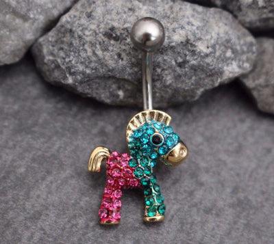 Rocking Horse Belly Button Rings Stud in Silver Non Dangle Belly Button Jewelry, Belly Bar, Navel Ring, Navel Piercing with Pink Blue Green Crystals