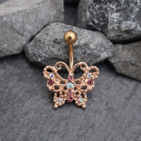 Rose Gold Butterfly Belly Bar