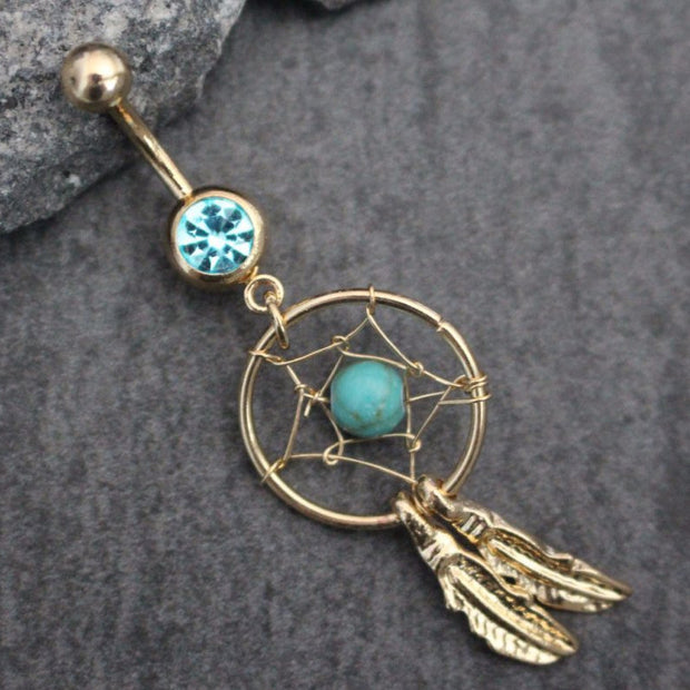 Belly Button Rings Dangle, Dreamcatcher Navel Ring, Gold Belly Rings, Crystal Navel Piercings, Boho Bohemian Tribal Aztec Leaf Leaves