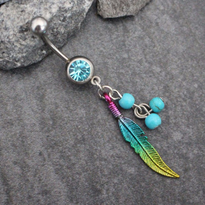 Leaf Belly Button Jewelry | Feather Navel Ring Boho Tribal  | 14G Gauge Stainless Surgical Steel  w/ Beads | w/ High Shine Crystals