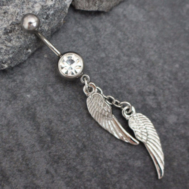 Angel Wings Belly Button Piercing, Navel Ring, Belly Ring, Navel Jewerly, Chain Feathers Leaves Bohemian Boho Silver Crystal Cute Kawaii