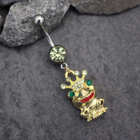 The Frog Prince Belly Button Jewelry, Crown Navel Ring, Princess Navel Piercing, Gold Belly Ring, Cute Kawaii Green Red Blue Elegant