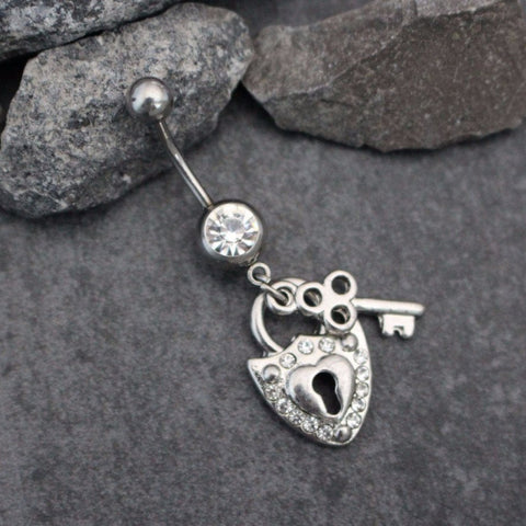 Lock & Key Navel Piercing | Belly Button Rings Dangle | Silver Belly Ring | Body Jewelry | Kawaii Cute Dainty | w/ High Shine Clear Crystals