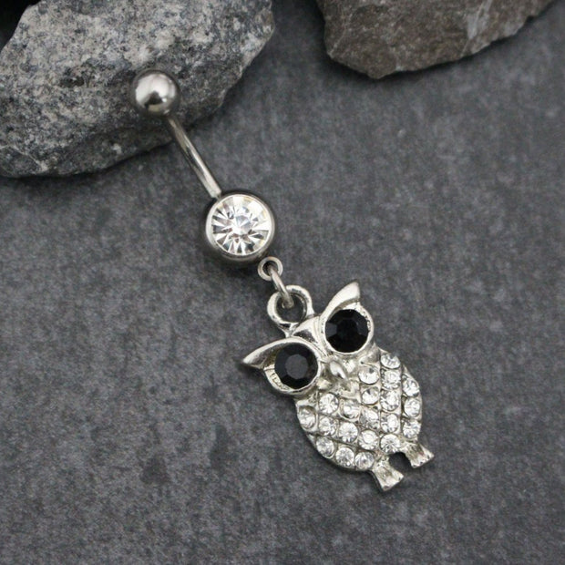 Owl Dangle Belly Button Rings | Navel Jewelry |  Cute Eye Elegant Classy Glamorous Bling | in Silver | w/ Precious Blue or Clear Crystals |