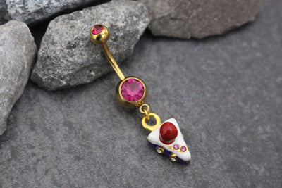 Cherry Cake Navel Piercing | Dessert Belly Button Ring | Gold Belly Piercing | Dangle Navel Ring | 14G 14 Gauge w/ Pink Crystals Rhinestones