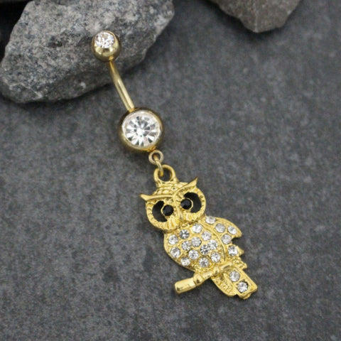 Gold Belly Button Rings | Owl Dangle Navel Jewelry Body Piercing | Wings Perch Swan Bird | Vintage Tribal | w/ Ultra Bling Clear Crystals |
