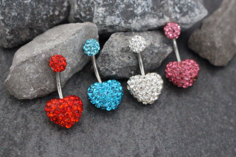 Ferido Heart Belly Bar | Double Gem Belly Button Ring Stud | Silver Barbell | Gem Bling Sparkle Glitter Crystal Encrusted Shamballa Bead