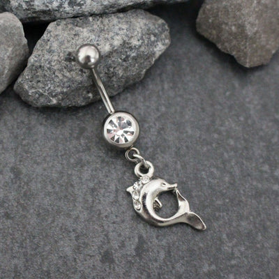 Dolphin Navel Piercing | Dolphins Belly Button Rings | Nautical Cute Dainty Dangle Body Piercing Silver | w/ Precious Clear or Pink Crystals