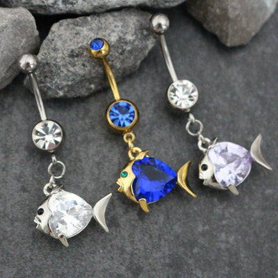 Crystal Belly Button Ring | Fish Navel Piercing | Cubic Zircon | Sparkly Gemmed Piercing | w/ High Shine Purple Lilac Clear Blue Crystals