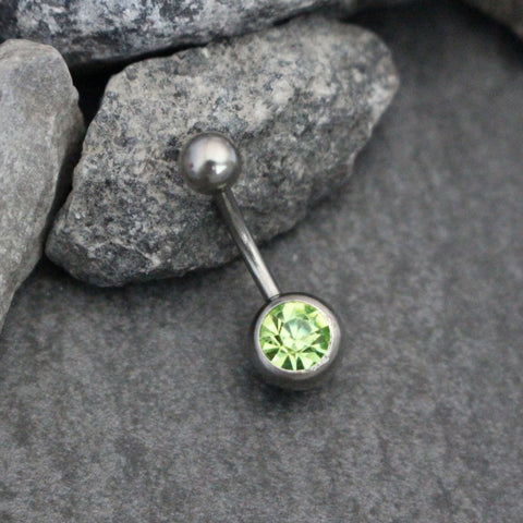 Crystal Belly Bar, Green Belly Button Ring Stud, Navel Jewelry, navel Piercing, Silver 316L Surgical Stainless Steel, 14 Gauge, 14G