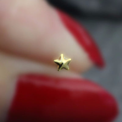 Star Nose Stud, Star Nose Ring, Gold Starfish, Silver Star Fish, Solid 0.925 Sterling Silver, 22 Gauge, 22G