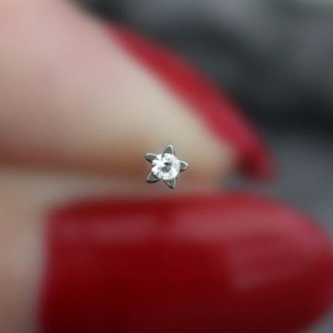 Silver Nose Ring Silver Nose Stud Star Nose Piercing Crystal Nose Jewelry Nose Jewellery Stars Star 18 Gauge 18g Mybodiart
