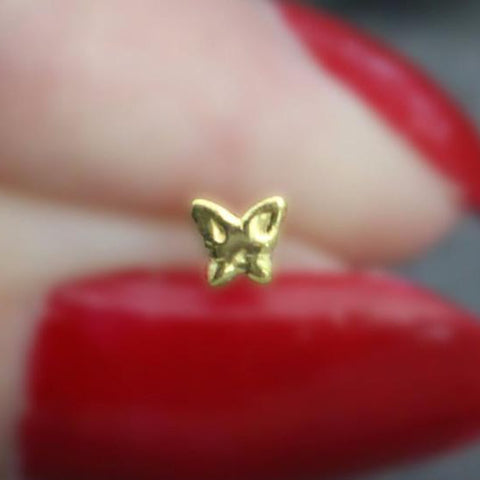 Gold Nose Ring, Nose Jewelry, Nose Jewellery, Nose Stud, Nose Piercing, Nostril Ring, Butterfly, Silver, Gold, Ball End, 20 Gauge, 20G