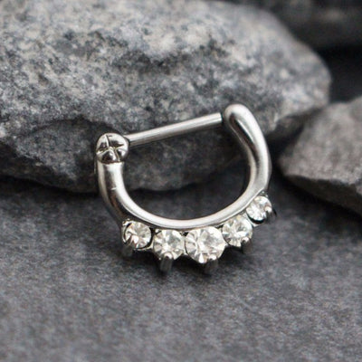 Septum Clicker, Septum Ring Silver, Septum Piercing, Crystal Daith Piercing, Daith Clicker, Nipple Piercing, Nipple Ring, 16 Gauge 16G