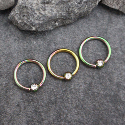 Rainbow Helix Earring, Cartilage Earring Hoop, Tragus Ring, Rook Hoops, Daith Ring, Lip Ring, Eyebrow Piercing, Septum Ring, Captive Bead