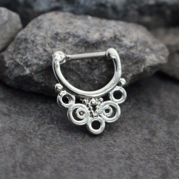 16 daith earrings silver septum ring 16g septum clicker septum jewelry 4544