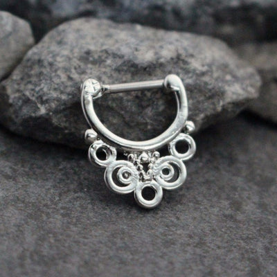 Silver Septum Ring 16G. Septum Clicker, Septum Jewelry, Daith Piercing, Daith Earring, Daith Ring, Nipple Piercing, Nipple Hoop