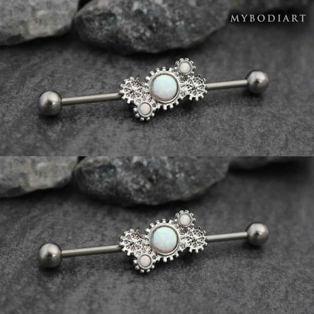 Opal Steampunk Industrial Piercing Jewelry Scaffold Barbell Earring at MyBodiArt