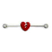 Qupid Red Broken Heart Arrow Industrial Barbell Piercing - www.MyBodiArt.com