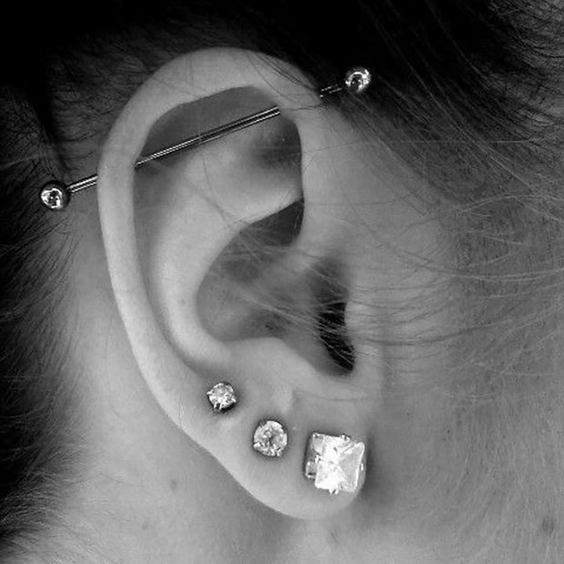 Industrial Piercing Barbell in Silver