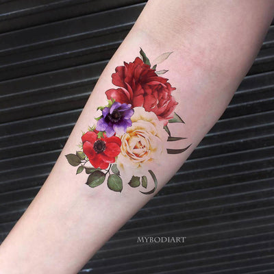 Beautiful Vintage Floral Flower Forearm Tattoo Ideas for Women Cute Temporary Tattoo -  linda flor antebrazo tatuaje temporal ideas - www.MyBodiArt.com