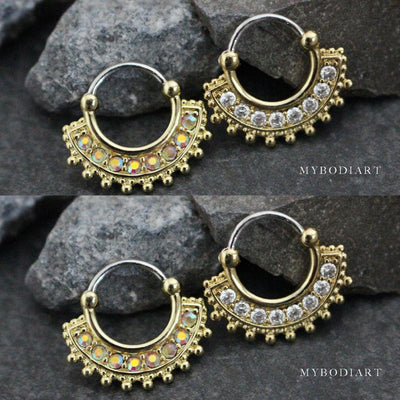 Cute Afghan Fan Crystal Gold Septum Clicker Daith Ring Earring Piercing Jewelry for Women - www.MyBodiArt