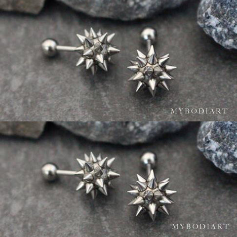 Unique Spiky Spike Silver Ear Piercing Jewelry Stud Ideas for Women for Cartilage, Helix, Conch - www.MyBodiArt