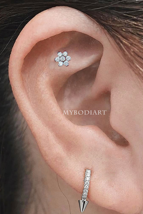 Cute Dog Paw Cartilage Helix Ear Piercing Jewelry Ideas for Women -  ideas de joyas de cartílago piercing de oreja - www.MyBodiArt.com #piercings