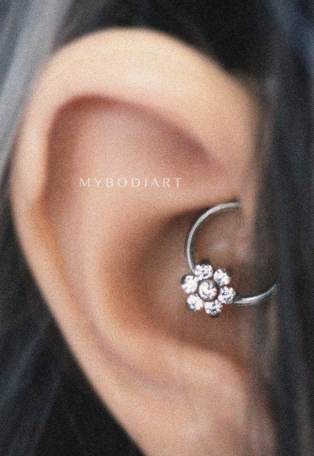 Cute Daith Crystal Flower Ear Piercing Jewelry Ideas for Women -  Linda flor de cristal oreja perforada joyas ideas para mujeres - www.MyBodiArt.com