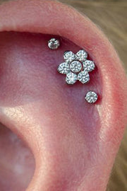 Triple Cartilage Piercing - Pretty Ear Piercing Ideas Combinations at MyBodiArt.com - 16G Internally Threaded Crystal Flower Earring Stud