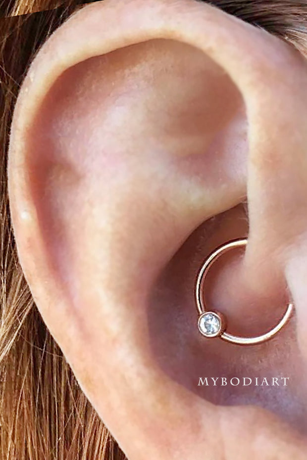 Cute Daith Ear Piercing Ideas for Women - Simple Swarovski Crystal Rook Small Gold Earring Ring Hoop 16G -  lindas ideas para perforar orejas para mujeres - www.MyBodiArt.com