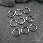 Cute Dainty Crystal Simple Ear Piercing Jewelry Ideas Septum Ring - www.MyBodiArt.com